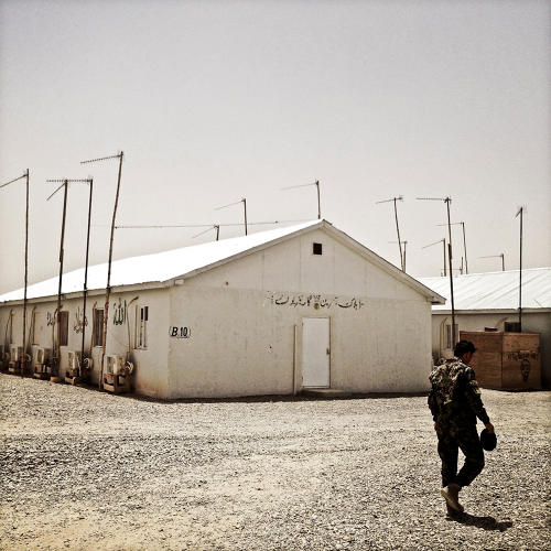 <p>Cell-phone antennas at Camp Garmsir.</p>