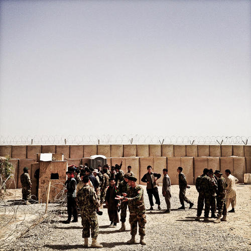 <p>Afghan soldiers at a small outpost in Helmand.</p>