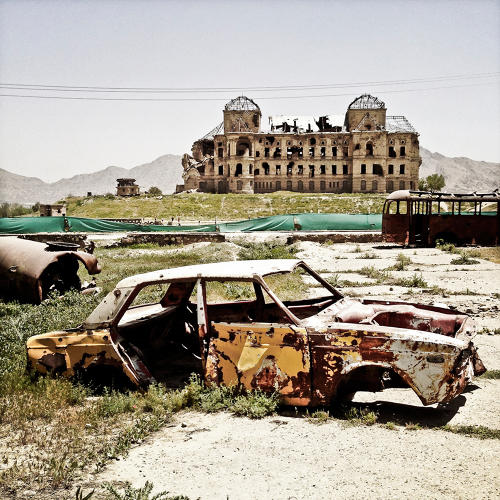<p>Building and decay in Kabul.</p>