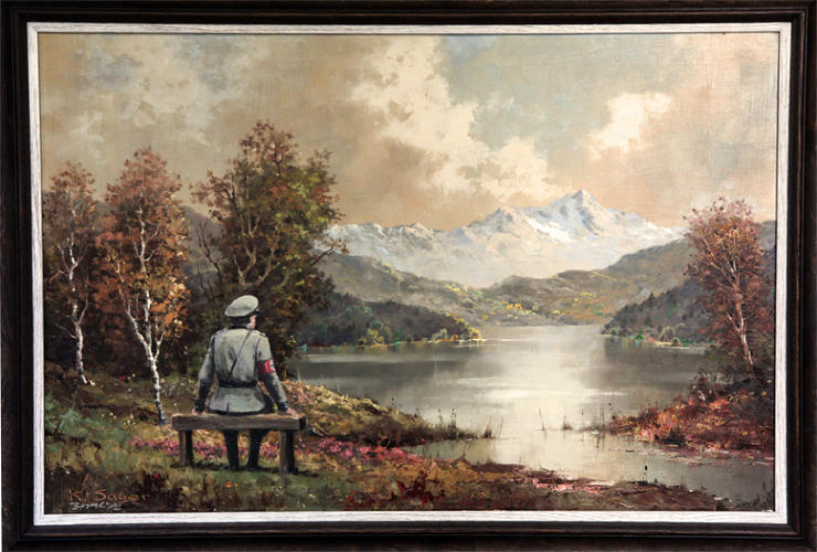 <p>And finally, here's the &quot;vandalized&quot; chocolate-box landscape, complete with Nazi staring at the view. Entitled &quot;The banality of the banality of evil,&quot; it was signed by the artist...</p>  <p>[<em>Image: <a href=&quot;http://www.banksy.co.uk&quot; target=&quot;_blank&quot;>Banksy</em></a>]</p>