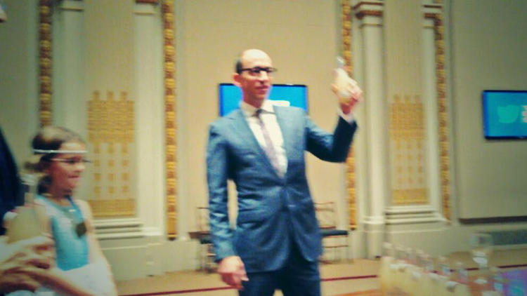<p>Twitter CEO Dick Costolo toasting Make a Stand lemonade in the NYSE Board Room to the entire team.</p>