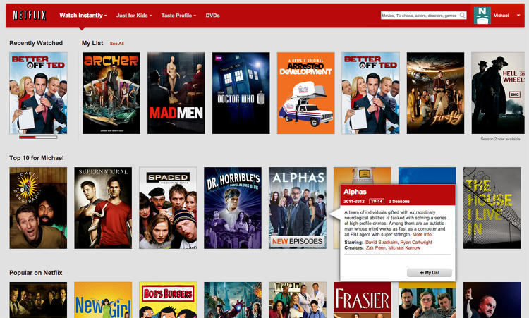 <p>Netflix's previous design used shots of content covers for browsing, like its web experience.</p>