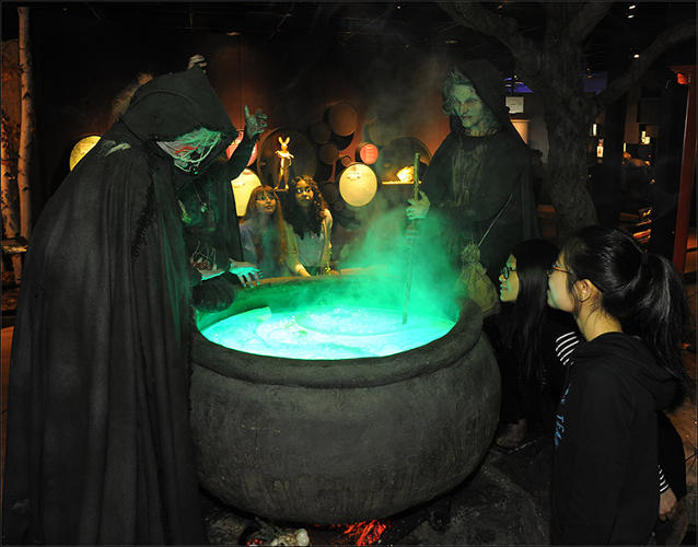<p>This life-size diorama re-creates a famous scene in William Shakespeare's <em>Macbeth</em> that features a trio of witches dropping gruesome ingredients into a boiling cauldron. The witches' potion draws on the supposedly magical powers of a few highly poisonous plants: toxic wolfsbane, hemlock, and yew, for example.</p>