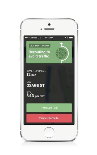 <p>Mid-route, MapQuest will give users the option to take a faster alternative route if there are delays ahead.</p>