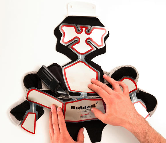 <p>Riddell's insert is filled with sensors which alert sideline staff to the severity of a player's hit.</p>