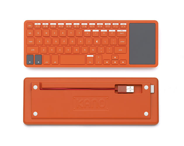 <p>The keyboard is made from bright orange ABS plastic and features a number of predefined command keys that help users work through the projects in the Kano instruction booklet. It has also been designed to be assembled and disassembled without glue to make it recyclable.</p>