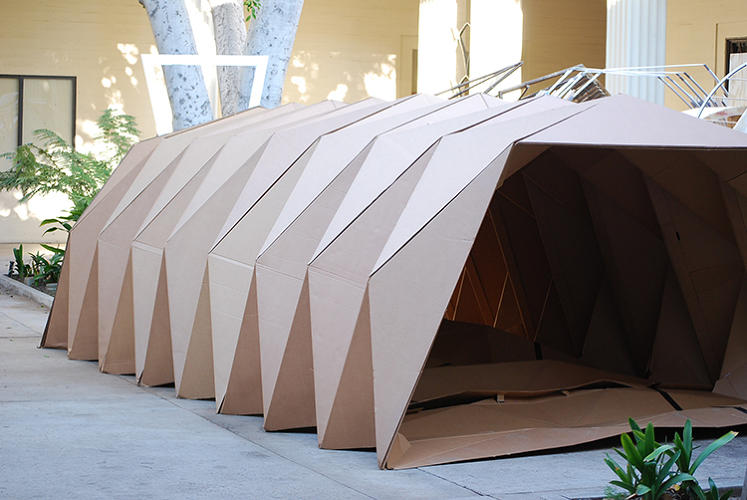 <p>Like the name suggests, the Cardborigami is made from cardboard, which artist Tina Hovsepian chose because the ridges inside help keep it insulated and make it sturdy. It's also lightweight and recyclable.</p>