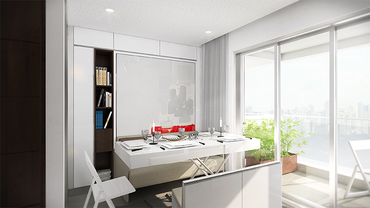 <p>The VN Quatà, as the apartments are called, also include a kitchen counter that can transform into a desk, a full bathroom, and a 75-square-foot balcony.</p>