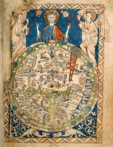 <p>The Psalter Map, depicting the earthly paradise and Jerusalem. London, c. 1265.</p>