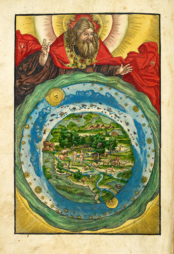 <p>The Garden of Eden in Biblia, Wittenberg: Hans Lufft, 1536, depicting the Earth with the first human couple.</p>