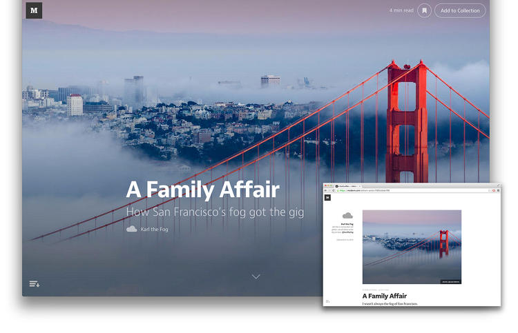 <p>In Medium 1.0, the newest version of the year-old blogging platform, visual elements are front and center with new features like support for full-bleed images.</p>