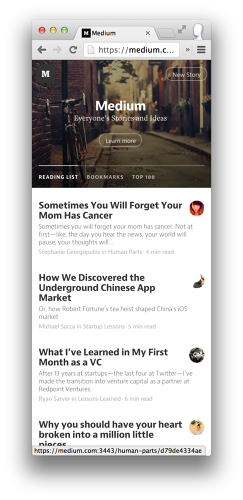 <p>Upon signing in, new &quot;Reading List,&quot; &quot;Bookmarks,&quot; and &quot;Top 100&quot; tabs categorize content based on what Medium thinks you'll like, what you've saved for later, and what others are reading and recommending on the platform.</p>