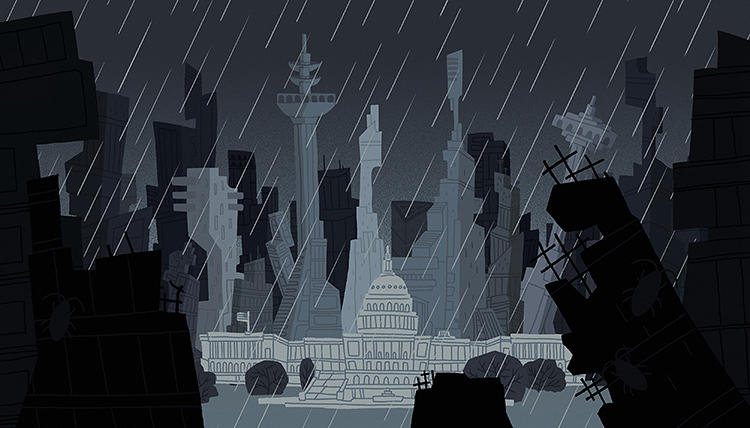 <p>Iain Burke, who created this dystopian design, says &quot;I wanted to create something that showed the overcrowding, claustrophobic feeling that D.C. will have if we turn it into any other city.&quot;</p>