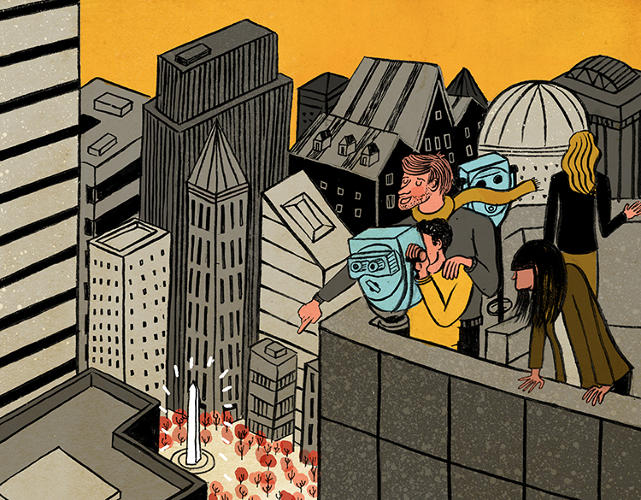 <p>&quot;What if the skyscrapers got so big that the only times we'd be able to see a view of any of D.C.'s monuments was by looking at them through those binoculars attached to rooftops on buildings?&quot; illustrator Vidhya Nagarajan wondered.</p>