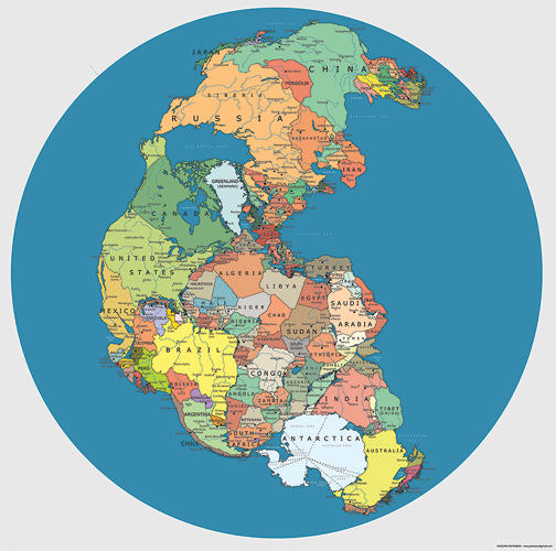 <p>If you think locating political boundaries on a map today is hard, imagine trying to do it 300 million years ago on ancient <a href=&quot;http://www.fastcodesign.com/1673238/pangea-redrawn-with-todays-political-boundaries&quot; target=&quot;_self&quot;>Pangea</a>, where America is next to Morocco and Algeria and Antarctica is just a hop, skip and a jump away from South Africa and Chile. Check out more detail <a href=&quot;http://www.fastcodesign.com/1673238/pangea-redrawn-with-todays-political-boundaries&quot; target=&quot;_self&quot;>here</a>.</p>