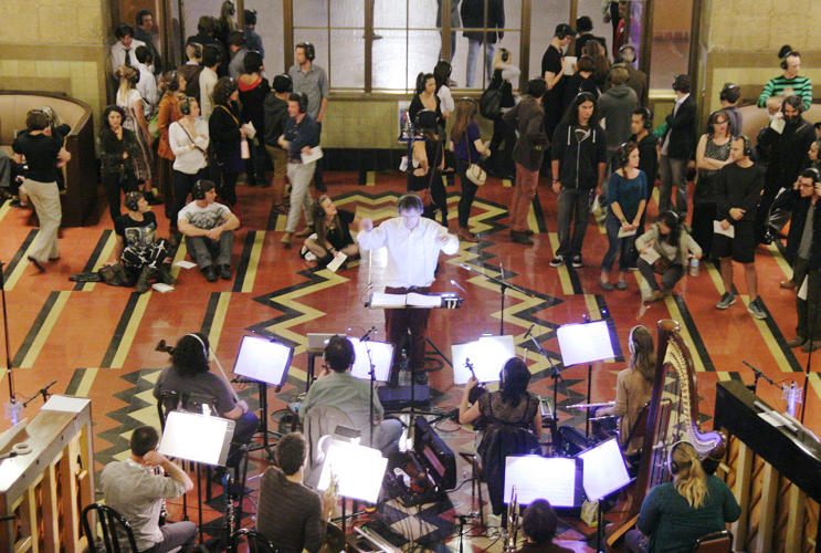 <p>The opera began with an ethereal overture in the same room as the orchestra before moving into the lobby.</p>