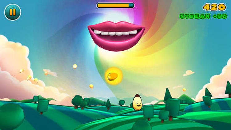 <p>You pop the jumping kernels with your finger to feed the giant hovering mouth.</p>