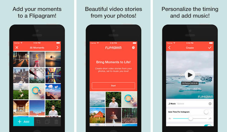 <p>Flipgram lets your pair your Instagram and Camera Roll photos with music. Something, that we're surprised hasn't been thought of before. (<a href=&quot;https://itunes.apple.com/us/app/flipagram/id512727332&quot; target=&quot;_blank&quot;>iOS</a> and <a href=&quot;https://play.google.com/store/apps/details?id=com.cheerfulinc.flipagram&quot; target=&quot;_blank&quot;>Android</a>)</p>