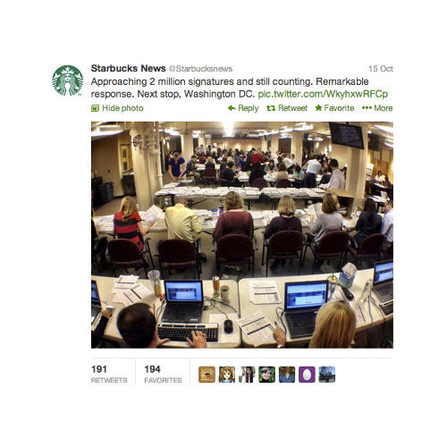 <p>Call it conversation with a purpose. <br /> Way too many brands awkwardly, even offensively attempted to conversate with real people by inserting themselves into current events this year. But Starbucks, which has a <a href=&quot;http://www.starbucks.com/blog/an-open-letter-from-howard-schultz/1268&quot; target=&quot;_blank&quot;>history</a> of involvement in public issues, participated in a more meaningful way, joining the public outcry about this fall's government shutdown. With CEO Howard Schultz leading the way, Starbucks stores and its site became an action hub on the issue. The company used its ads to drive signatures on a petition to be shared with Washington and with other companies asking the government to reopen, to pay national debts on time and to pass a long-term budget deal. Nearly two million people signed. <br /> The next time the government shuts down, expect brands to just step in and start running the country. They sort of do anyway...</p>