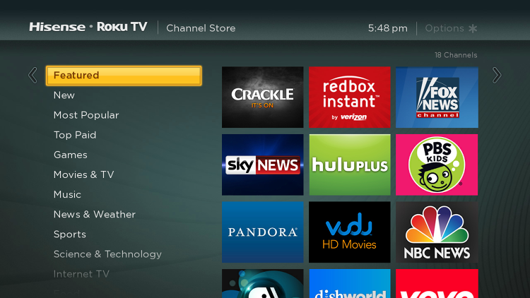 <p>Channel store on the Hisense Roku TV.</p>