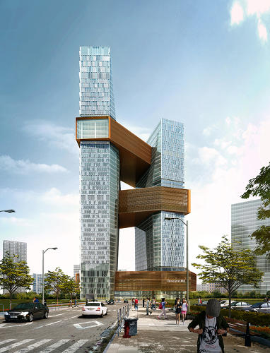 <p>Architects from global architecture and design firm NBBJ created a vertical campus design that pulls apart the idea of a tower and imbues it with some of the qualities of a suburban campus.</p>