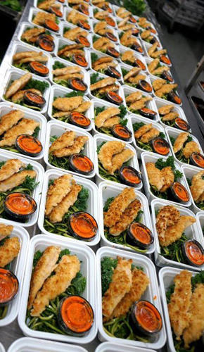 <p>Meals are delivered every two days in a insulated cooler bag in the wee hours, like a newspaper of old. The number of meals in your bag will be determined by your plan, of course--if you've signed up for four meals a day, you'll find eight.</p>