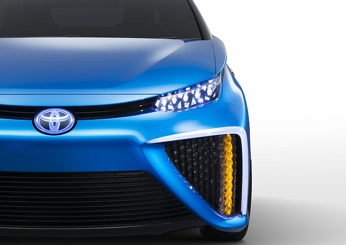<p>And unlike gasoline-powered cars, Toyota says that its FCV can go for 310 miles without a hydrogen fill-up.</p>