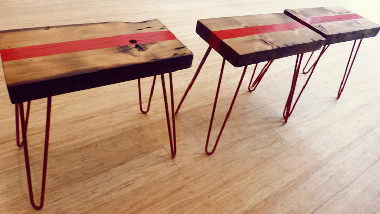 <p>Coffee tables are made from wood reclaimed from New York's Metropolitan Transit Authority.</p>