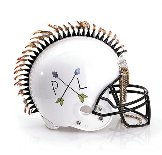 <p>48 of fashion's biggest designers created &quot;haute couture&quot; football helmets that will be auctioned off on Bloomingdales.com starting January 15th. Here, Pamela Love's contribution.</p>