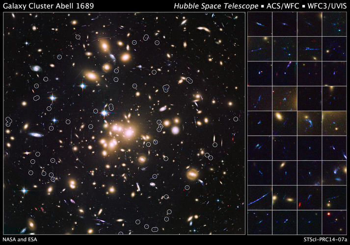 <p>Between 9 billion and 12 billion years ago, the universe experienced a baby boom of star formation, but until now most of the galaxies which gave birth to the stars we see every night were too small and faint to be observed. In this ultraviolet image Hubble has captured a sample of 58 small, young galaxies, which are 100 times fainter than those typically detected in previous deep-field surveys of the early universe, as they would have appeared 10 billion years ago. There are 100 times more of these smaller, fainter galaxies than of their more flashy, brighter cousins, making these galaxies are the smallest, faintest, and most numerous ever seen in the remote universe.</p>