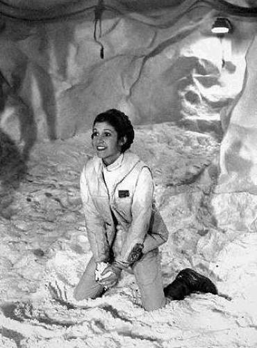 <p>Carrie Fisher throws snowballs on <em>The Empire Strikes Back</em> set.</p>