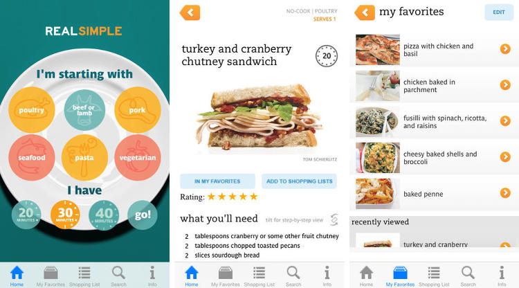 <p>You just came home from work and you don't know what to eat. You also don't have much time to devote to it. No Time To Cook? is Real Simple's app that offers tons of recipes, sharable grocery lists, video content, and kitchen timers.</p>