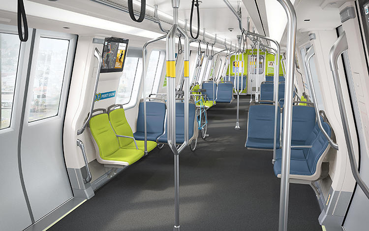 <p>One thousand new train cars will feature wipeable fabric cloth on seats with more legroom, bike racks, and quieter trains.</p>