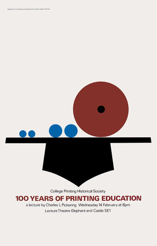 <p>Eckersley's playful, no-fuss style was characterized by colorful geometric shapes, often resembling cut-paper collage. Poster promoting a historical lecture, London College of Printing, 1985.</p>