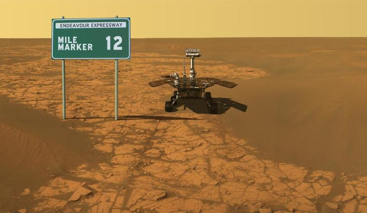 <p>On Jan. 28, 2010, Opportunity passed 12 miles of driving, and NASA shared this artist concept to highlight the milestone.</p>
