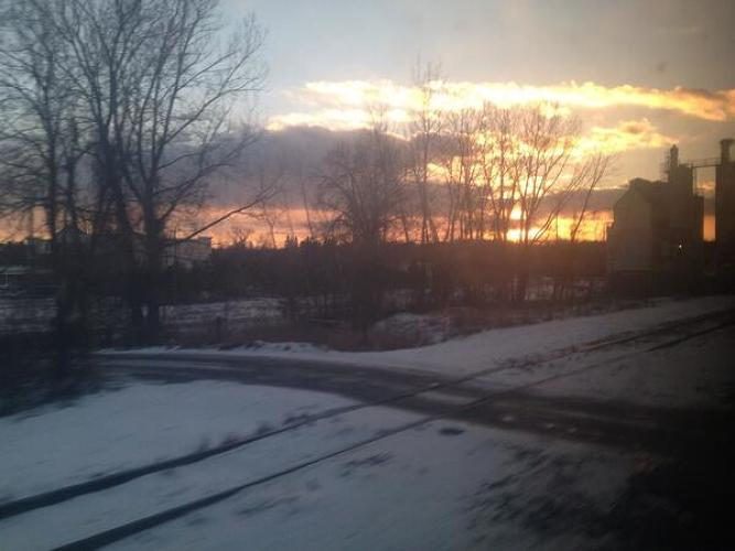 <p>&quot;One reason to travel by train- rail ROW is far more interesting than highway. Sunset over railyard Palmer MA&quot;</p>