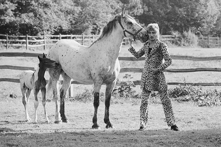 <p>Rod Stewart nuzzles a mare with her foal in Old Windsor in 1971. &quot;I couldn't believe it when we went out into his garden and saw that the horse had the same spots as his suit.&quot;</p>