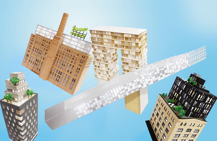 <p>SHoP projects in New York, recreated by artist Ollanski in paper. From left to right: Mulberry House (completed 2013), the two-part Domino Sugar Refinery (under development), 111 West 57th St. (the tall, skinny one; under development), and The Porterhouse (completed 2003).</p>