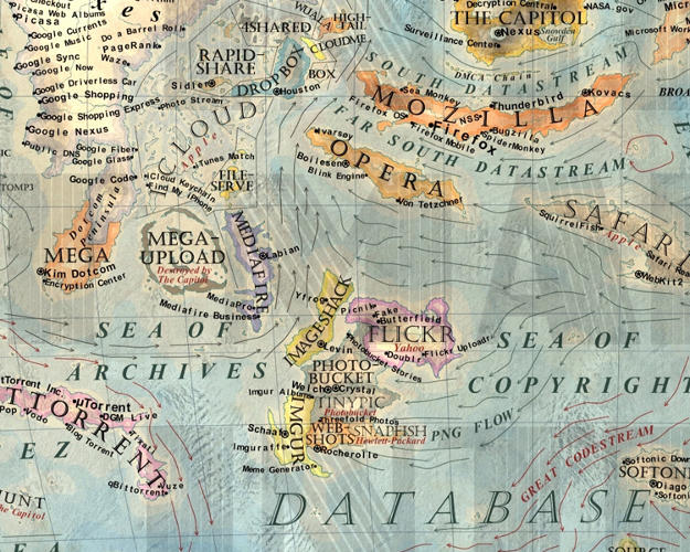 <p>The map has a very granular level of detail: even the names of ocean currents relate to their nearby territories.</p>