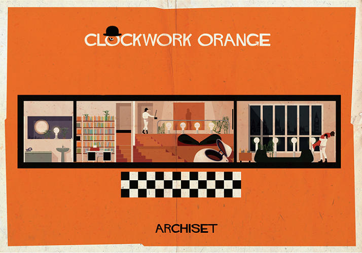 "<p>In ""Archiset,"" cinephile and architect Federico Babina, depicts the interiors of beloved films in his signature retro style. Click through to see more.</p>"