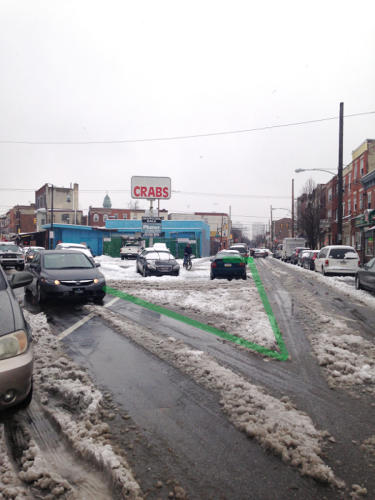 <p>Here are sneckdown images in Philadelphia from the blog This Old City that make a case for pedestrian plazas on East Passyunk Avenue--a diagonal street that causes lots of pedestrian confusion.</p>