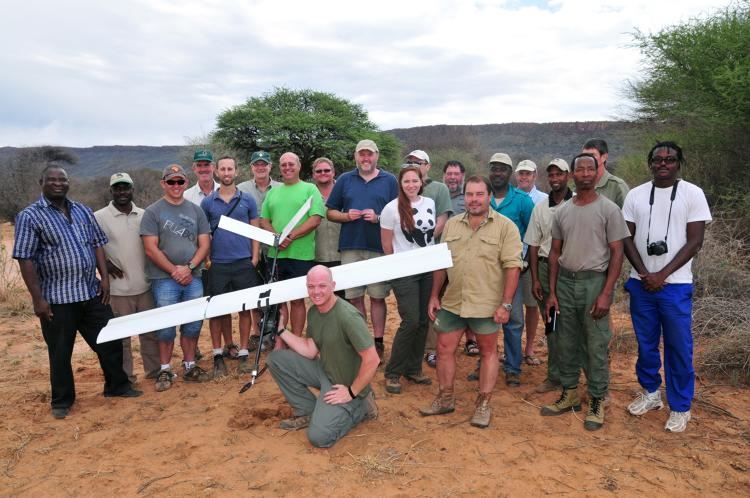 <p>Representatives from the WWF Wildlife Crime Technology Project and Namibian Ministry of Environment and Tourism showing off one of their UAVs.</p>