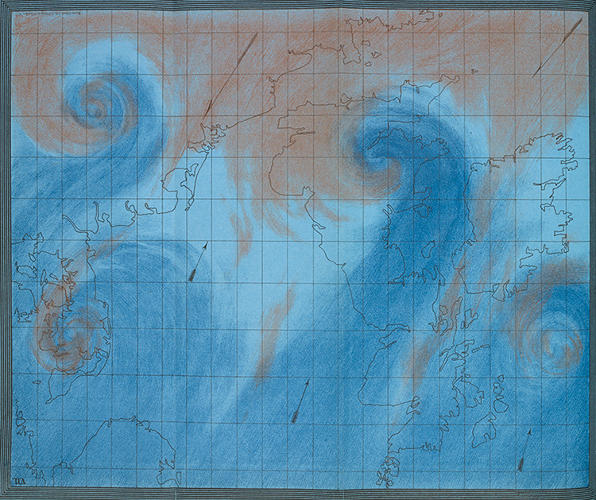 <p>Robert FitzRoy, best known as the captain of <em>HMS Beagle</em> aboard which Charles Darwin sailed as a naturalist, is also considered the grandfather of the modern weather service. In this 1863 illustration, we see how storms and cyclones develop on the border between warm tropical and cold polar air masses. It's a bit like a proto-satellite image.</p>