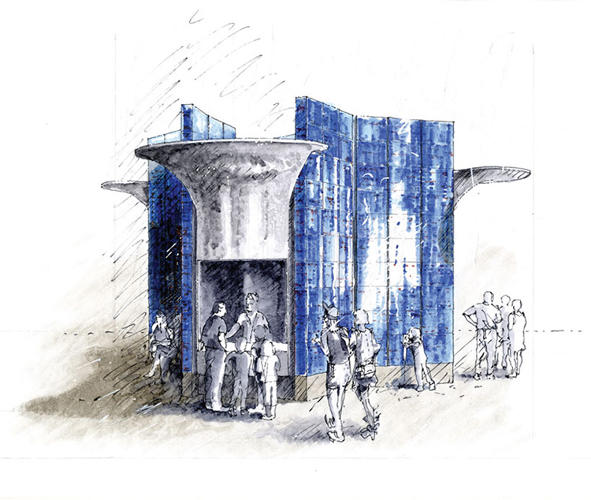 <p>Studio Weave's design, a blue-and-white pole covered in plants, is tall enough to serve as a landmark.</p>