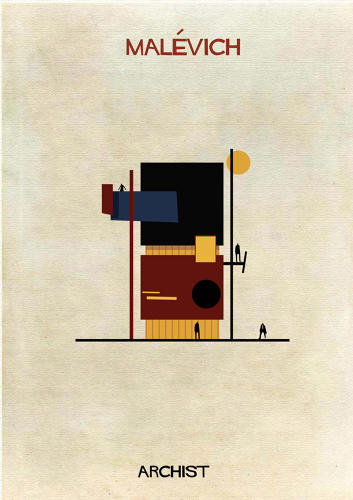 <p>In his latest illustration series, &quot;Archist,&quot; Barcelona-based designer Federico Babina imagines what buildings might look like had they been designed by 27 famous artists in their signature styles.</p>