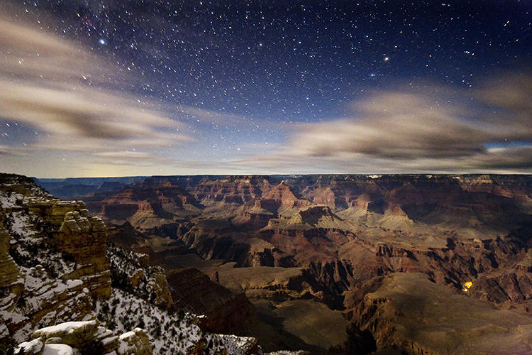 <p>Snow in the Grand Canyon. &quot;The lights of Phantom Ranch are the only source of artificial light within the canyon and the park is looking at how to minimize those,&quot; Nordgren says.</p>