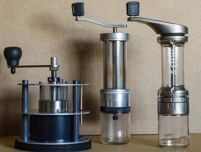 <p>The three generations of Garrott grinders: (L to R) The Pharos, the Lido 1, and the Lido 2.</p>