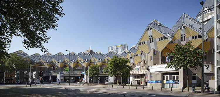<p>The Supercube is part of a 'cube forest': Most of the complex is made up of bright yellow box-shaped homes perched like trees on concrete poles. The apartments have always been popular places to live.</p>