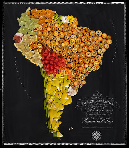 <p>Citrus fruits populate the South American map.</p>