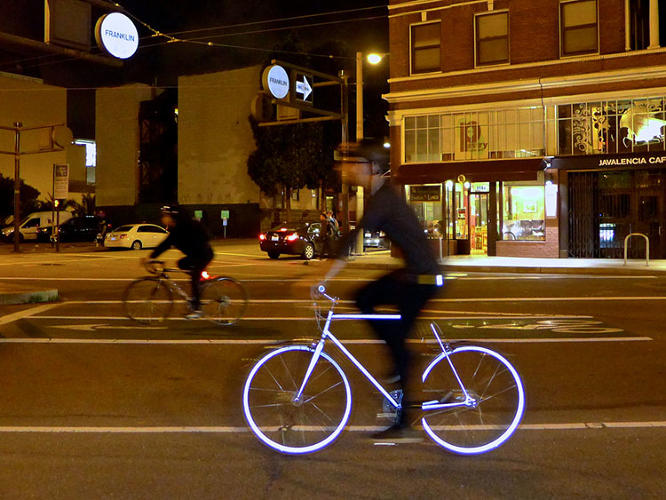 <p>To make their vision of a sleek black bicycle that glows white at night a reality, Mission Bicycle turned to Halo Coatings to create an entirely new painting process to give the Lumen the same effect as retro-reflective paint on a stop sign.</p>